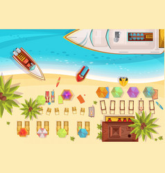 Beach holiday top view vector