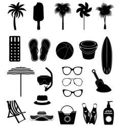 Beach leisure objects black outline silhouette vector
