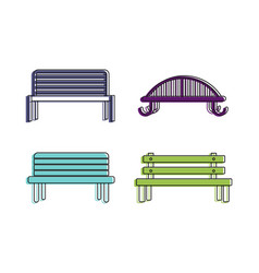bench icon set color outline style vector image