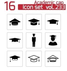 black academic cap icons set vector image