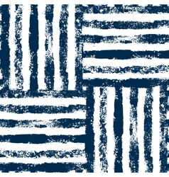 Blue and white striped woven grunge seamless vector image