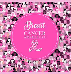 breast cancer awareness diverse pink women card vector image
