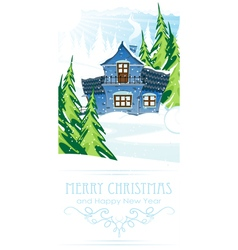 Brick house in a pine forest vector