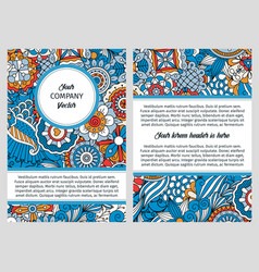 brochure with blue floral decorative pattern vector image