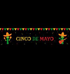 Cactus mariachi and bunting cinco de mayo banner vector