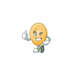 Cartoon character potato making thumbs up vector