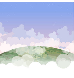 cartoon part of the planet earth in the clouds vector image