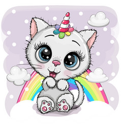 cartoon white kitten with horn a unicorn vector image
