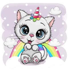 Cartoon white kitten with horn a unicorn vector