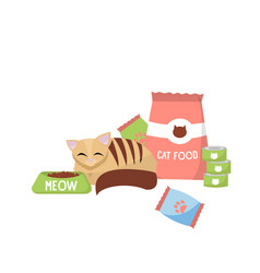 cat with cat foods concept cat next to packing vector image