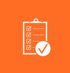 checklist icon survey in flat design on orange vector image