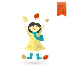 Cheerful Girl with Leaves vector image