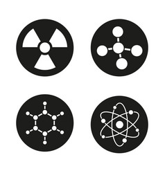 Chemistry and physics icons set vector