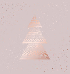 christmas card rose gold vector image