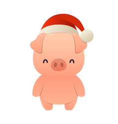 christmas cute pig in santa red new year hat vector image