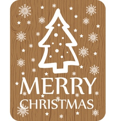 Christmas greeting with christmas tree wood vector