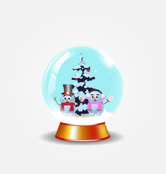 christmas new year crystal snow globe with cute vector image