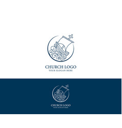 Church logo christian symbols vector