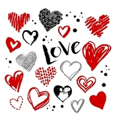 collection of grunge Valentine hearts vector image vector image