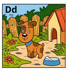 Color alphabet for children letter d dog vector