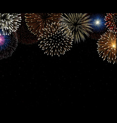 Colorful fireworks on night sky background vector