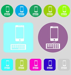 Computer keyboard and smatphone Icon 12 colored vector image