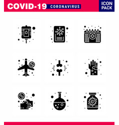 Coronavirus prevention set icons 9 solid glyph vector