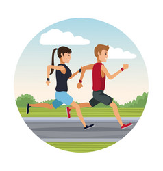 couple running outside round icon vector image