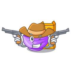 Cowboy cereal box in a cartoon bowl vector