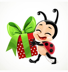 Cute cartoon little ladybug carries a gift vector