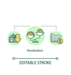 Devaluation concept icon financial crisis vector