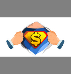 dollar sign superhero open shirt with vector image