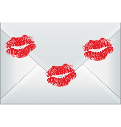 envelope sealed with woman kisses vector image