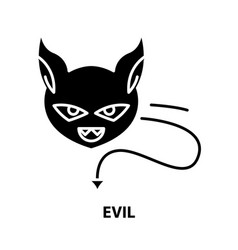 Evil icon black sign with editable strokes vector
