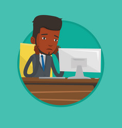exhausted sad office worker working in office vector image