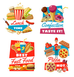 fast food and confectionery for lunch time symbols vector image