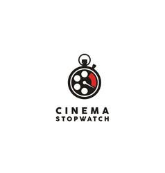 film reel stopwatch timer for movie cinema logo vector image