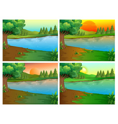 Four scenes of river and forest vector