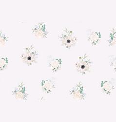 Garden powder anemone flower pattern vector