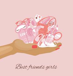girls items female stuff girlish things on vector image