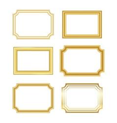 Gold frame simple golden white vector