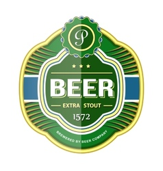Green beer bottle label template vector image
