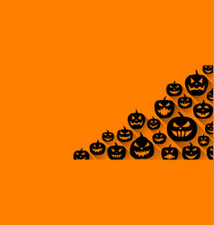 Halloween background with pumpkin faces pattern vector