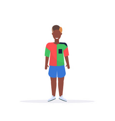 happy casual man standing pose smiling african vector image