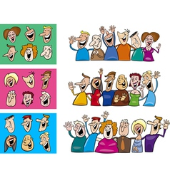 happy people set vector image