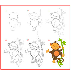 How to draw cute toy monkey educational page vector