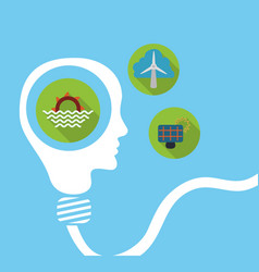 human head bulb shape energy think environment vector image
