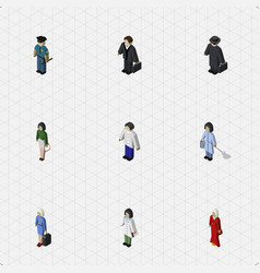 Isometric person set of doctor pedagogue vector