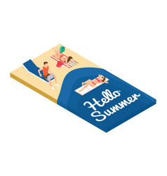 isometric summer holidays on the beach vector image