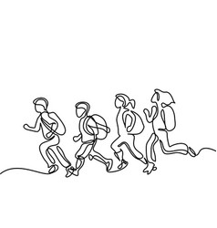 Kids running to school with bags vector